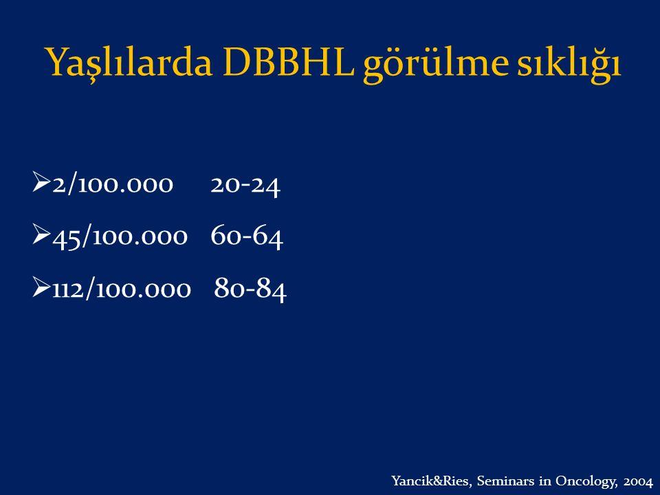 Yaşlılarda DBBHL görülme sıklığı  2/100.000 20-24  45/100.000 60-64  112/100.000 80-84 Yancik&Ries, Seminars in Oncology, 2004