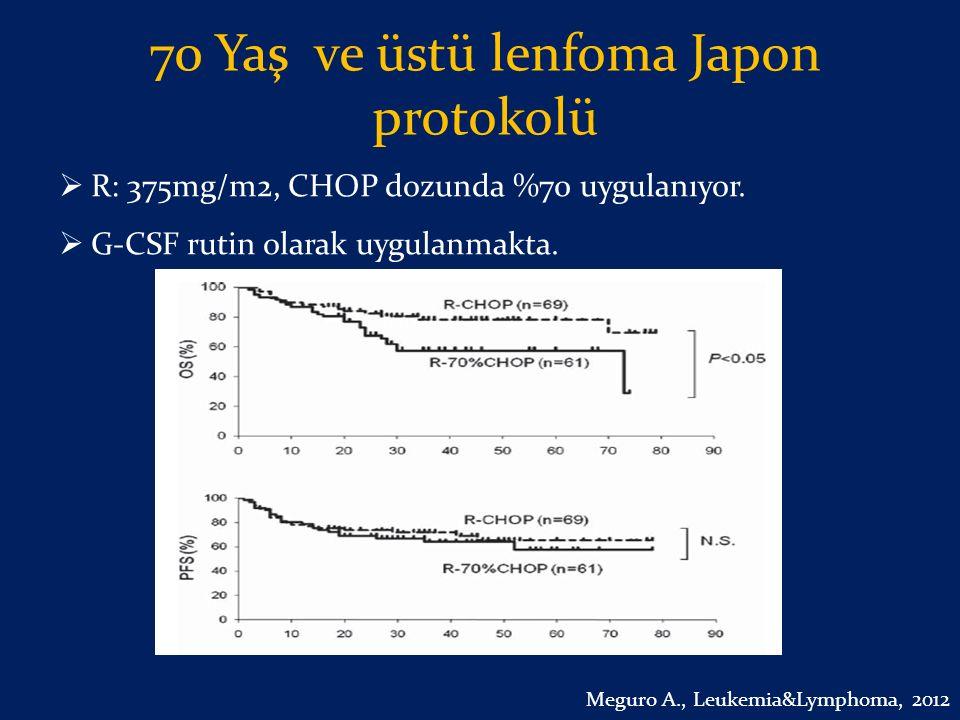 70 Yaş ve üstü lenfoma Japon protokolü  R: 375mg/m2, CHOP dozunda %70 uygulanıyor.  G-CSF rutin olarak uygulanmakta. Meguro A., Leukemia&Lymphoma, 2