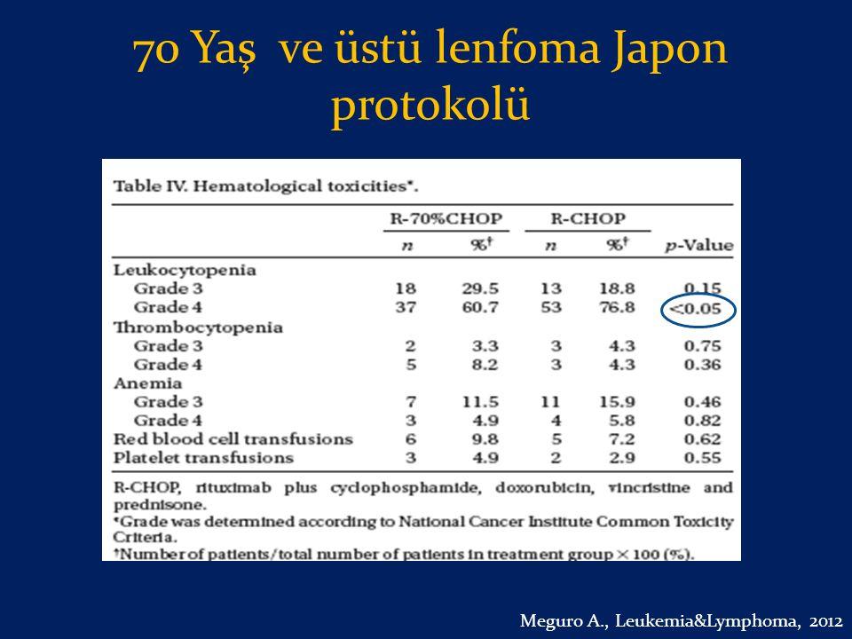 70 Yaş ve üstü lenfoma Japon protokolü Meguro A., Leukemia&Lymphoma, 2012