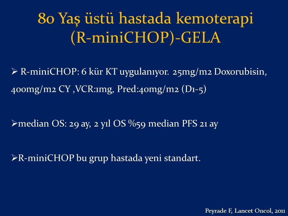 80 Yaş üstü hastada kemoterapi (R-miniCHOP)-GELA  R-miniCHOP: 6 kür KT uygulanıyor. 25mg/m2 Doxorubisin, 400mg/m2 CY,VCR:1mg, Pred:40mg/m2 (D1-5)  m