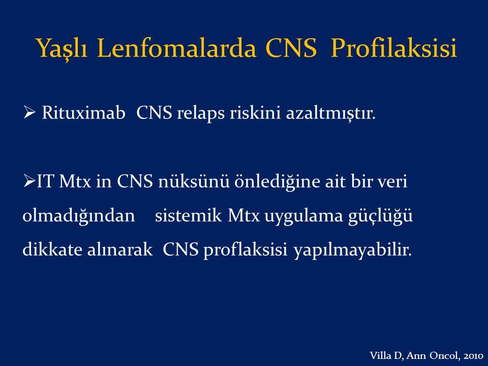 Yaşlı Lenfomalarda CNS Profilaksisi  Rituximab CNS relaps riskini azaltmıştır.  IT Mtx in CNS nüksünü önlediğine ait bir veri olmadığından sistemik