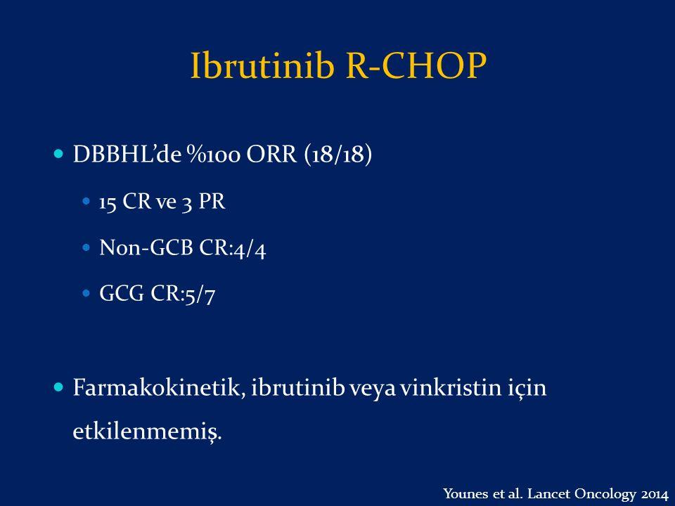 Ibrutinib R-CHOP DBBHL'de %100 ORR (18/18) 15 CR ve 3 PR Non-GCB CR:4/4 GCG CR:5/7 Farmakokinetik, ibrutinib veya vinkristin için etkilenmemiş. Younes