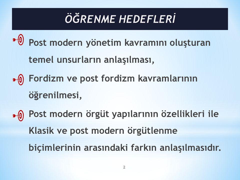 Post modern yönetim kavramını oluşturan temel unsurların anlaşılması, Fordizm ve post fordizm kavramlarının öğrenilmesi, Post modern örgüt yapılarının özellikleri ile Klasik ve post modern örgütlenme biçimlerinin arasındaki farkın anlaşılmasıdır.