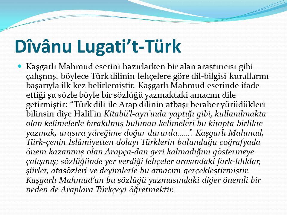 Dîvânu Lugati't-Türk Kaşgarlı Mahmud eserini hazırlarken bir alan araştırıcısı gibi çalışmış, böylece Türk dilinin lehçelere göre dil-bilgisi kurallarını başarıyla ilk kez belirlemiştir.