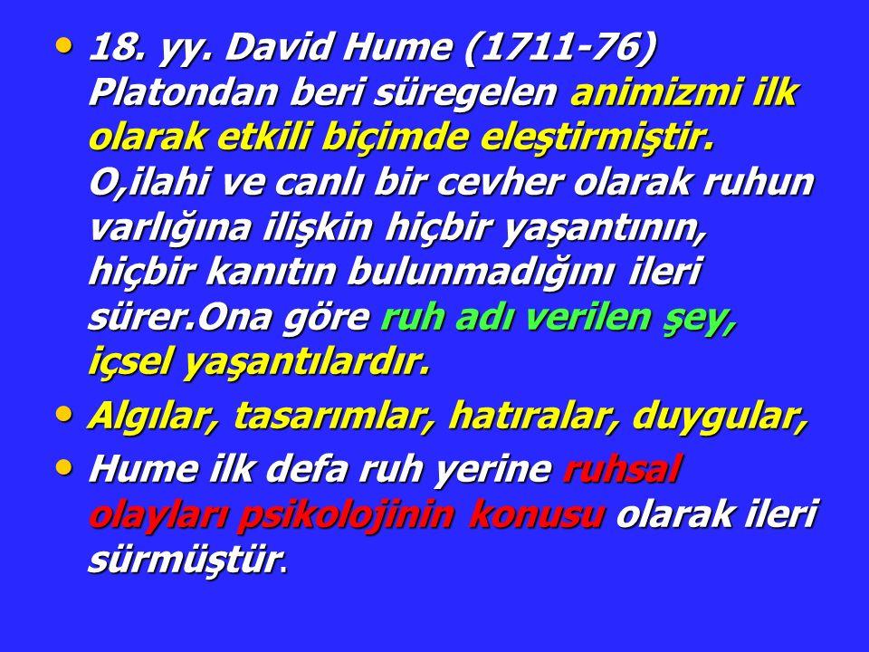 18. yy. David Hume (1711-76) Platondan beri süregelen animizmi ilk olarak etkili biçimde eleştirmiştir. O,ilahi ve canlı bir cevher olarak ruhun varlı
