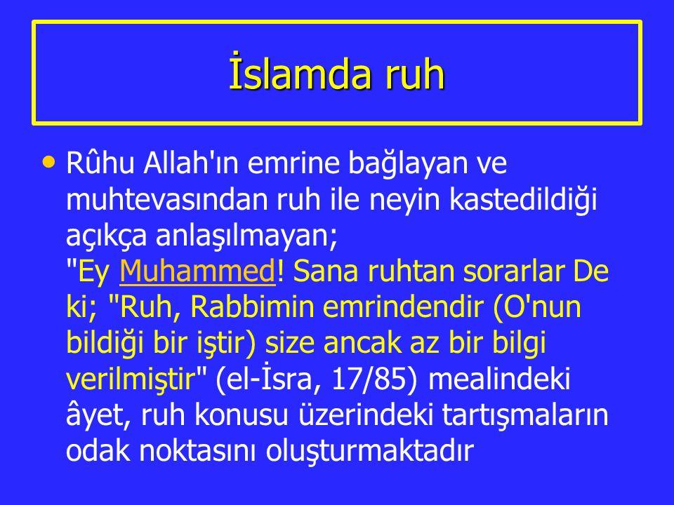 İslamda ruh Rûhu Allah'ın emrine bağlayan ve muhtevasından ruh ile neyin kastedildiği açıkça anlaşılmayan;