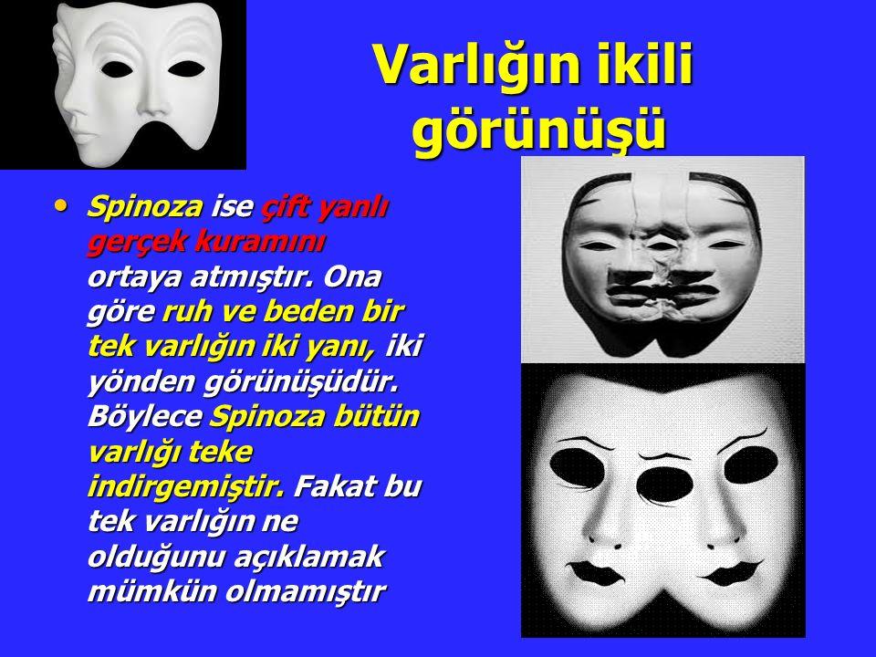 Varlığın ikili görünüşü Varlığın ikili görünüşü Spinoza ise çift yanlı gerçek kuramını ortaya atmıştır. Ona göre ruh ve beden bir tek varlığın iki yan