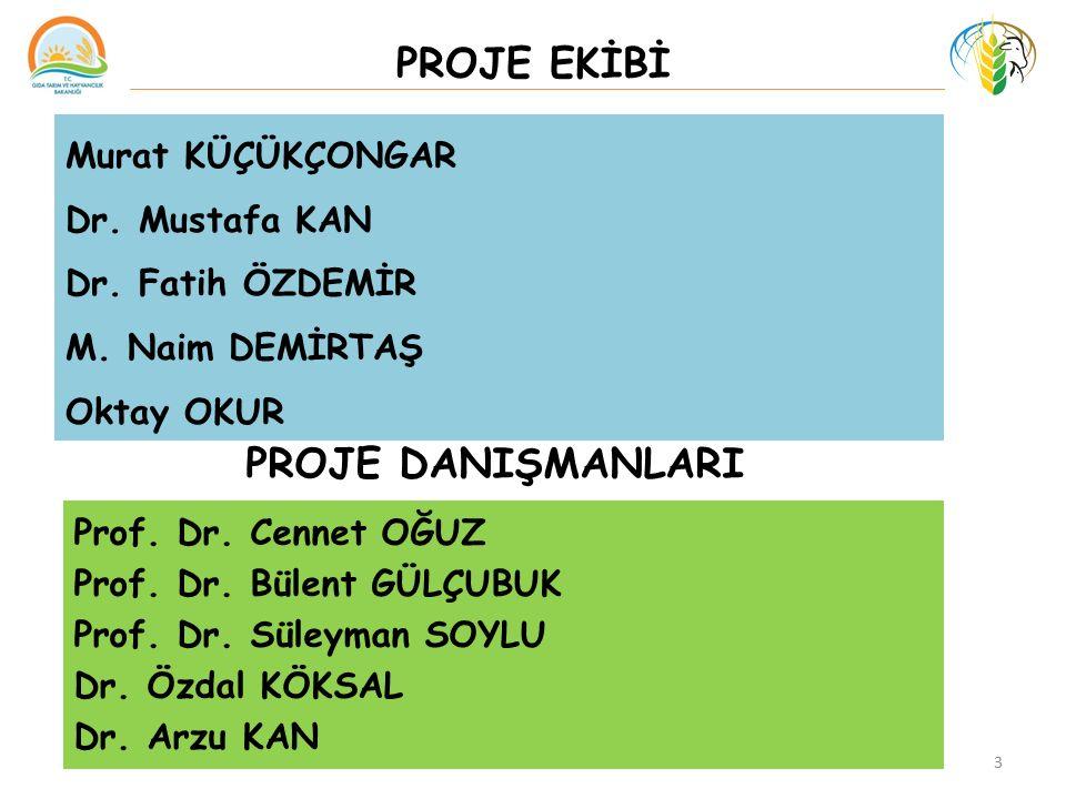 PROJE EKİBİ 3 Murat KÜÇÜKÇONGAR Dr. Mustafa KAN Dr. Fatih ÖZDEMİR M. Naim DEMİRTAŞ Oktay OKUR Prof. Dr. Cennet OĞUZ Prof. Dr. Bülent GÜLÇUBUK Prof. Dr