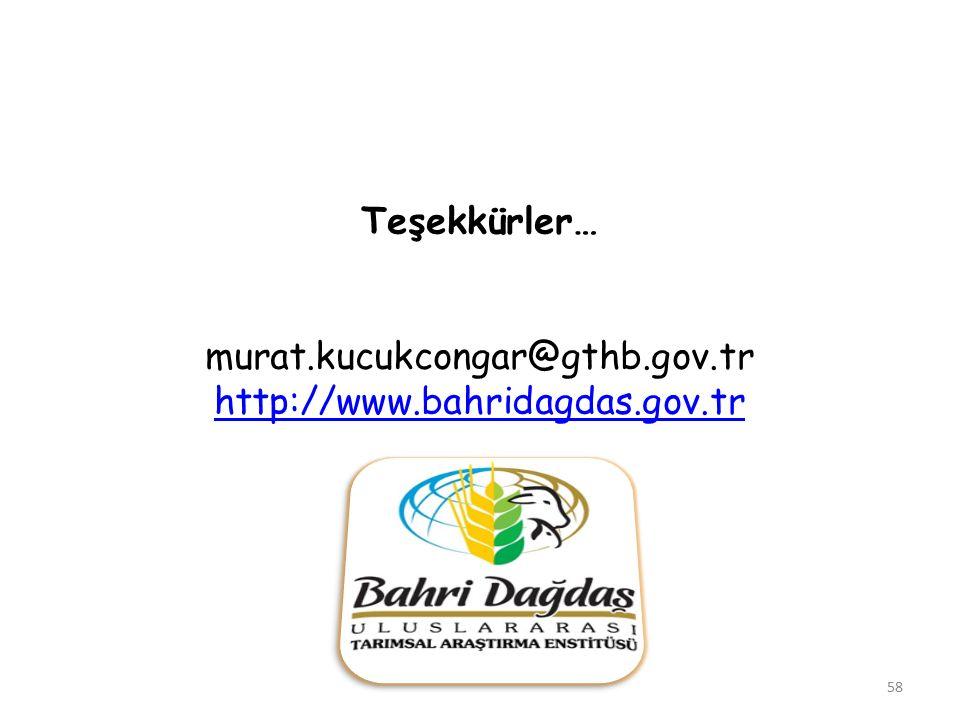 Teşekkürler… murat.kucukcongar@gthb.gov.tr http://www.bahridagdas.gov.tr 58