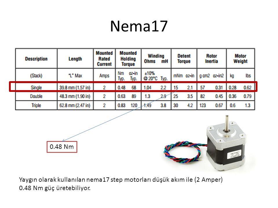 Nema17 0.48 Nm Yaygın olarak kullanılan nema17 step motorları düşük akım ile (2 Amper) 0.48 Nm güç üretebiliyor.