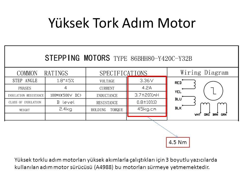 Yüksek Tork Adım Motor 4.5 Nm Yüksek torklu adım motorları yüksek akımlarla çalıştıkları için 3 boyutlu yazıcılarda kullanılan adım motor sürücüsü (A4