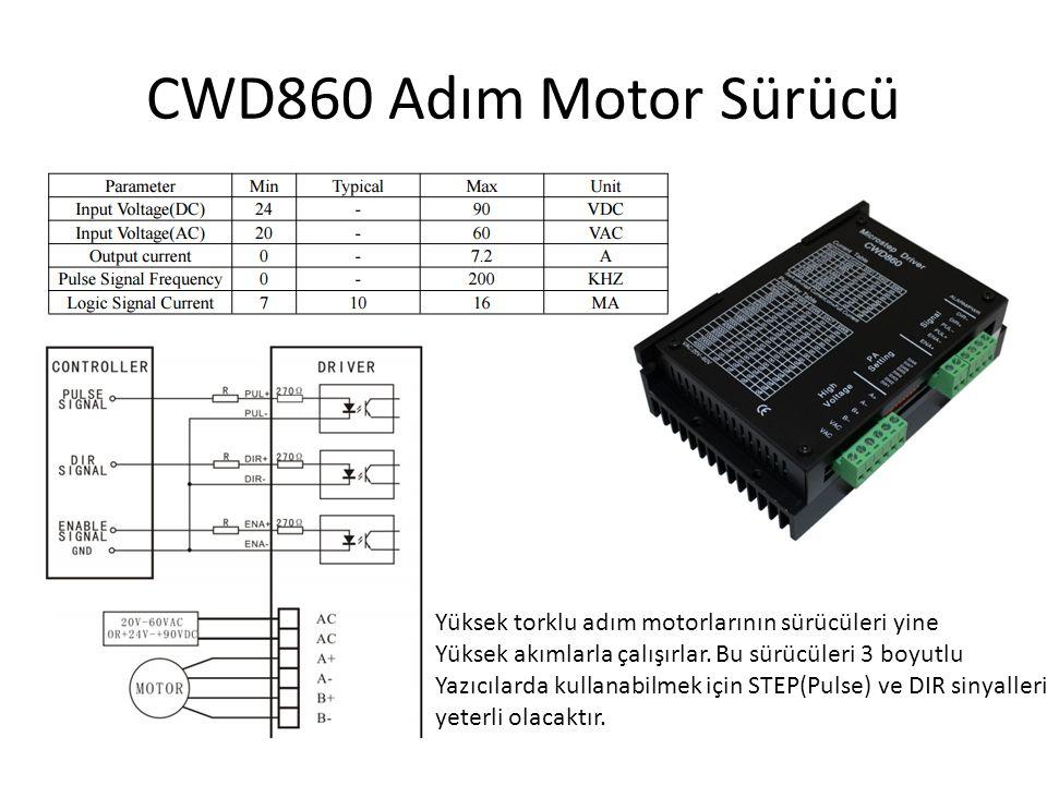CWD860 Adım Motor Sürücü Yüksek torklu adım motorlarının sürücüleri yine Yüksek akımlarla çalışırlar. Bu sürücüleri 3 boyutlu Yazıcılarda kullanabilme