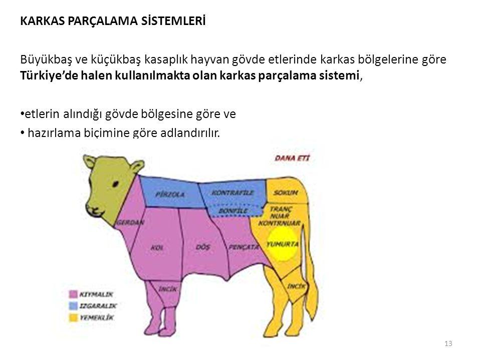 KARKAS PARÇALAMA SİSTEMLERİ Büyükbaş ve küçükbaş kasaplık hayvan gövde etlerinde karkas bölgelerine göre Türkiye'de halen kullanılmakta olan karkas pa