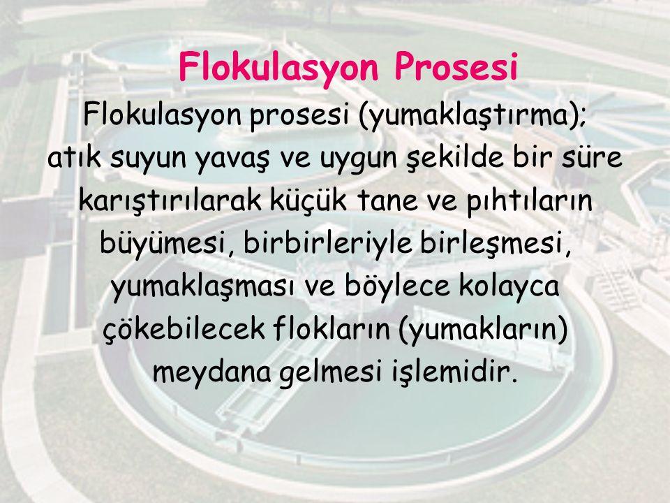 Flokulasyon Prosesi Flokulasyon prosesi (yumaklaştırma); atık suyun yavaş ve uygun şekilde bir süre karıştırılarak küçük tane ve pıhtıların büyümesi,