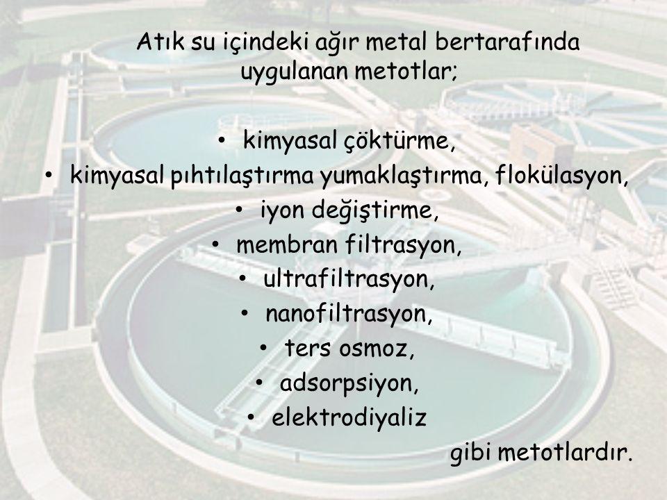 Atık su içindeki ağır metal bertarafında uygulanan metotlar; kimyasal çöktürme, kimyasal pıhtılaştırma yumaklaştırma, flokülasyon, iyon değiştirme, me