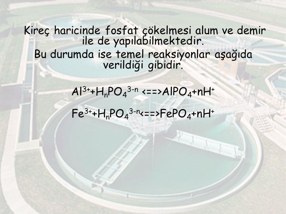 Kireç haricinde fosfat çökelmesi alum ve demir ile de yapılabilmektedir. Bu durumda ise temel reaksiyonlar aşağıda verildiği gibidir. Al 3+ +H n PO 4