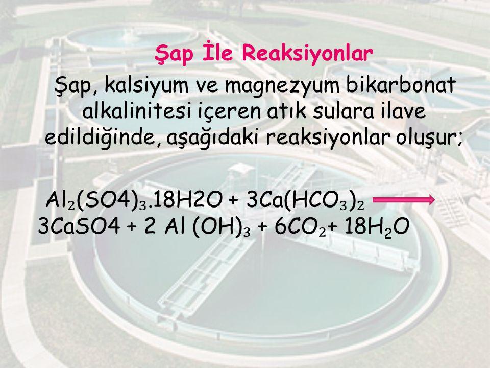 Şap İle Reaksiyonlar Şap, kalsiyum ve magnezyum bikarbonat alkalinitesi içeren atık sulara ilave edildiğinde, aşağıdaki reaksiyonlar oluşur; Al ₂ (SO4
