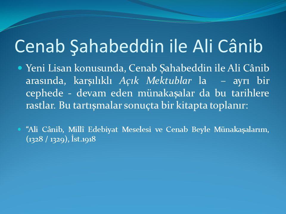 Cenab Şahabeddin ile Ali Cânib Yeni Lisan konusunda, Cenab Şahabeddin ile Ali Cânib arasında, karşılıklı Açık Mektublar la – ayrı bir cephede - devam