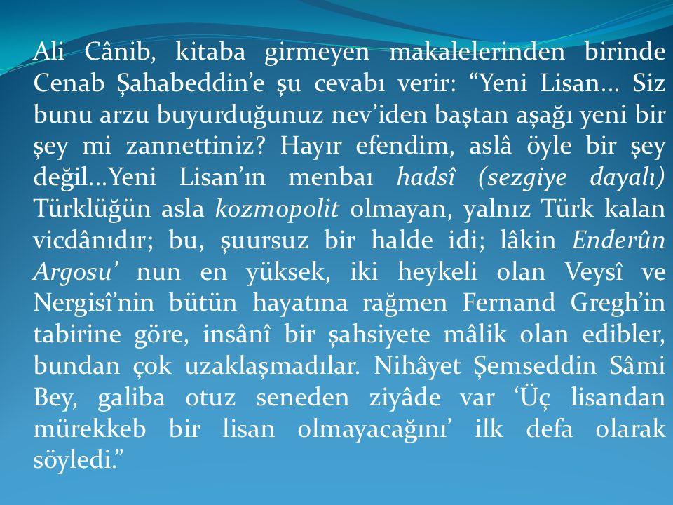 """Ali Cânib, kitaba girmeyen makalelerinden birinde Cenab Şahabeddin'e şu cevabı verir: """"Yeni Lisan... Siz bunu arzu buyurduğunuz nev'iden baştan aşağı"""