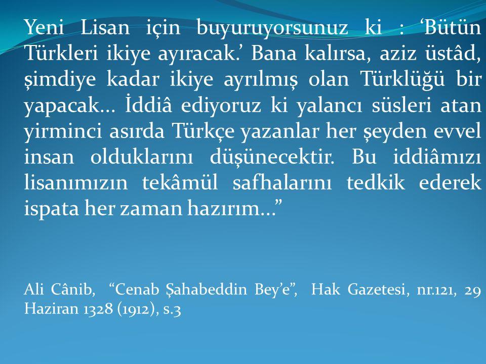 Yeni Lisan için buyuruyorsunuz ki : 'Bütün Türkleri ikiye ayıracak.' Bana kalırsa, aziz üstâd, şimdiye kadar ikiye ayrılmış olan Türklüğü bir yapacak.