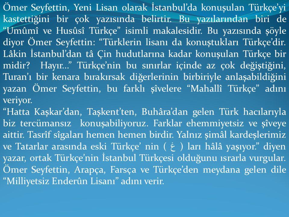 """Ömer Seyfettin, Yeni Lisan olarak İstanbul'da konuşulan Türkçe'yi kastettiğini bir çok yazısında belirtir. Bu yazılarından biri de """"Umûmî ve Husûsî Tü"""