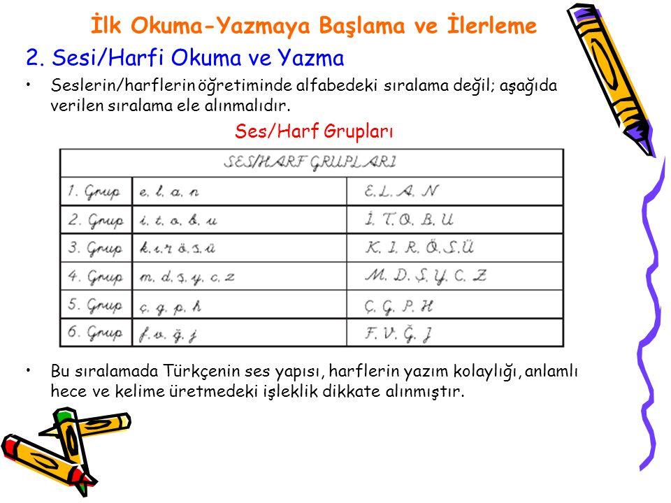 İlk Okuma-Yazmaya Başlama ve İlerleme 2. Sesi/Harfi Okuma ve Yazma Seslerin/harflerin öğretiminde alfabedeki sıralama değil; aşağıda verilen sıralama