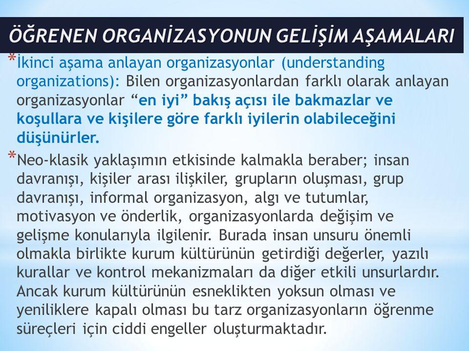 """* İkinci aşama anlayan organizasyonlar (understanding organizations): Bilen organizasyonlardan farklı olarak anlayan organizasyonlar """"en iyi"""" bakış aç"""