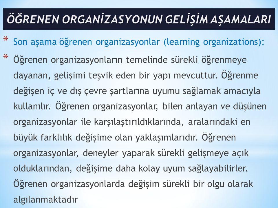 * Son aşama öğrenen organizasyonlar (learning organizations): * Öğrenen organizasyonların temelinde sürekli öğrenmeye dayanan, gelişimi teşvik eden bi