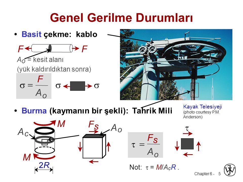 Chapter 6 - 5 Basit çekme: kablo Not:  = M/A c R. Genel Gerilme Durumları A o = kesit alanı (yük kaldırıldıktan sonra) FF o   F A o   F s A  M