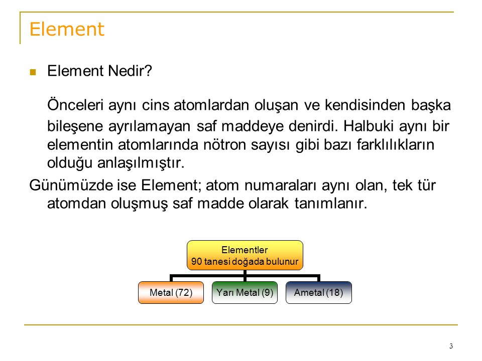 3 Element Element Nedir? Önceleri aynı cins atomlardan oluşan ve kendisinden başka bileşene ayrılamayan saf maddeye denirdi. Halbuki aynı bir elementi