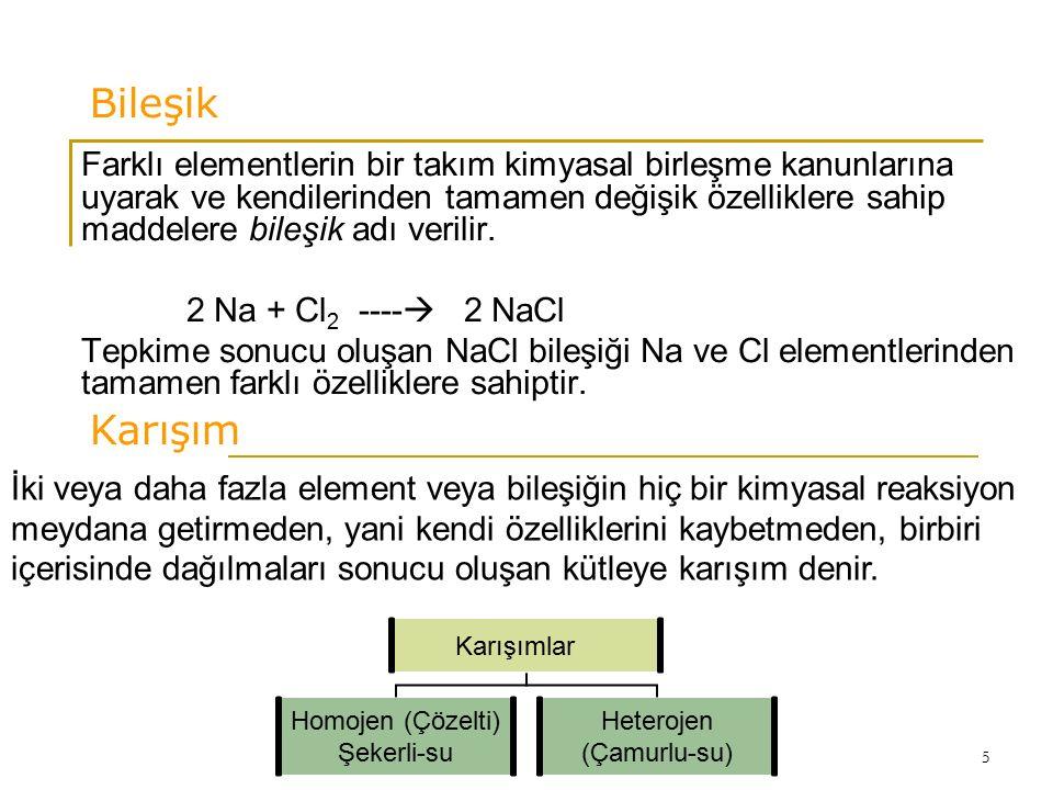 5 Bileşik Farklı elementlerin bir takım kimyasal birleşme kanunlarına uyarak ve kendilerinden tamamen değişik özelliklere sahip maddelere bileşik adı