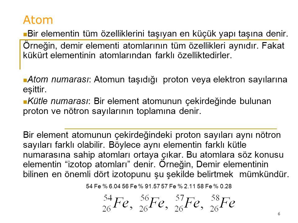 6 Atom Bir elementin tüm özelliklerini taşıyan en küçük yapı taşına denir. Örneğin, demir elementi atomlarının tüm özellikleri aynıdır. Fakat kükürt e
