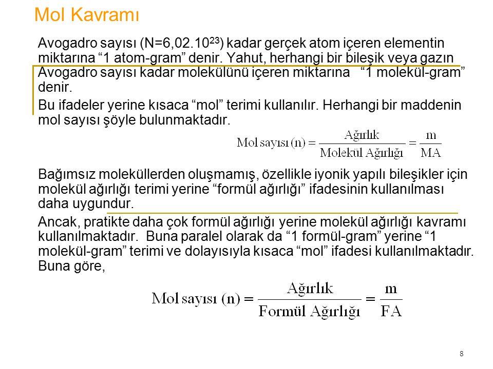 """8 Mol Kavramı Avogadro sayısı (N=6,02.10 23 ) kadar gerçek atom içeren elementin miktarına """"1 atom-gram"""" denir. Yahut, herhangi bir bileşik veya gazın"""