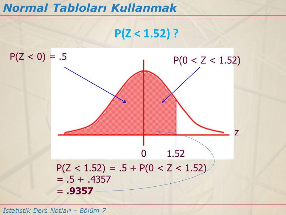 Normal Tabloları Kullanmak İstatistik Ders Notları – Bölüm 7 P(Z < 1.52) ? 0 1.52 P(Z < 0) =.5 P(Z < 1.52) =.5 + P(0 < Z < 1.52) =.5 +.4357 =.9357 z P