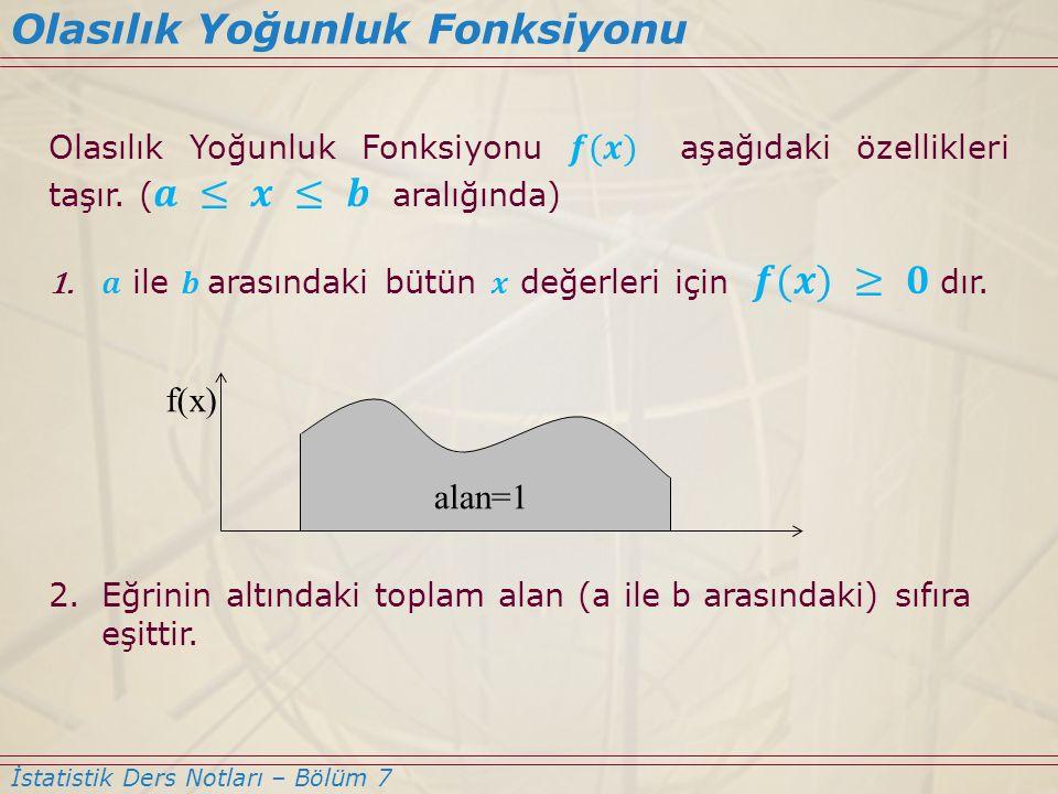 Olasılık Yoğunluk Fonksiyonu İstatistik Ders Notları – Bölüm 7 ab x f(x) Paxb( ) ≤≤ Paxb( ) << = (Tek bir değerin olasılığının sıfır olduğunu unutmayalım)