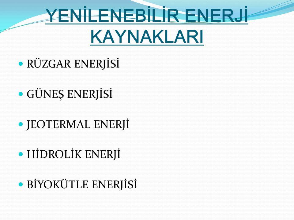 RÜZGAR ENERJİSİ GÜNEŞ ENERJİSİ JEOTERMAL ENERJİ HİDROLİK ENERJİ BİYOKÜTLE ENERJİSİ