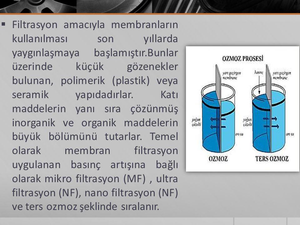  Filtrasyon amacıyla membranların kullanılması son yıllarda yaygınlaşmaya başlamıştır.Bunlar üzerinde küçük gözenekler bulunan, polimerik (plastik) veya seramik yapıdadırlar.