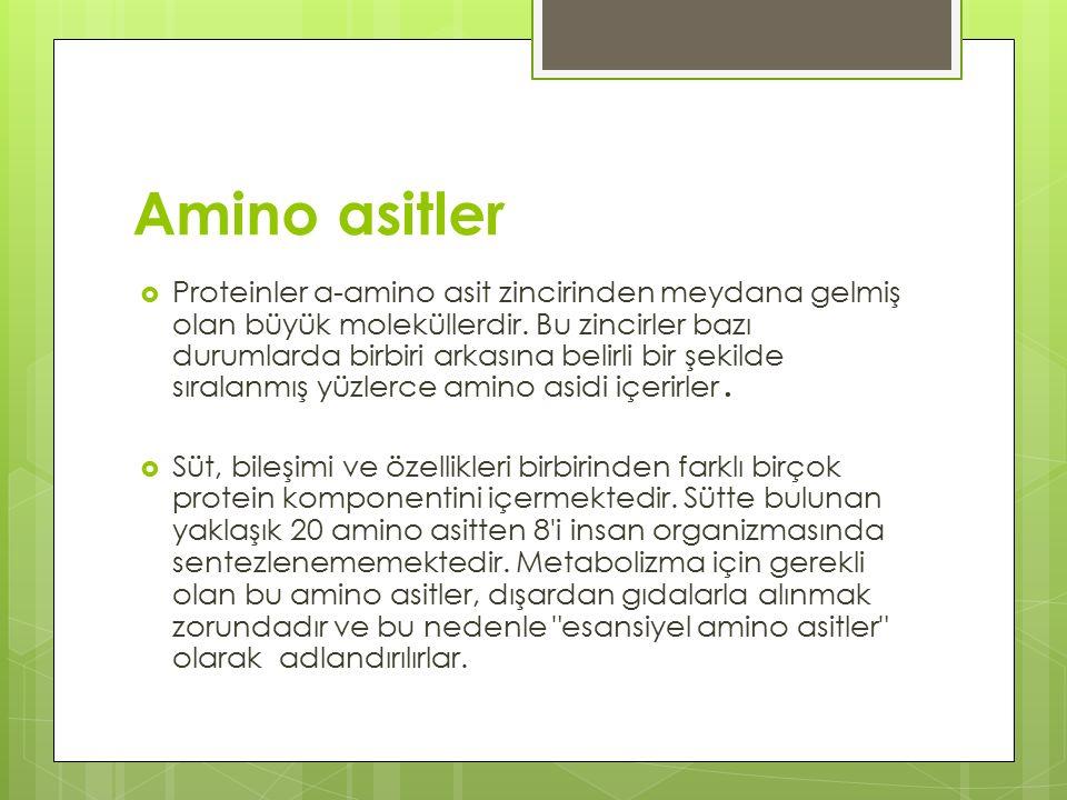Amino grubu Karboksil grubu Amino asitler  Proteinler a-amino asit zincirinden meydana gelmiş olan büyük moleküllerdir.