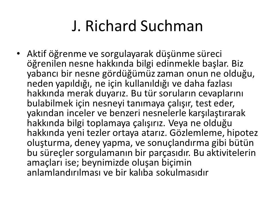 J. Richard Suchman Aktif öğrenme ve sorgulayarak düşünme süreci öğrenilen nesne hakkında bilgi edinmekle başlar. Biz yabancı bir nesne gördüğümüz zama