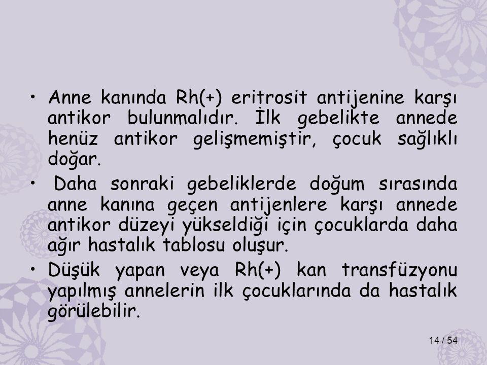Anne kanında Rh(+) eritrosit antijenine karşı antikor bulunmalıdır.