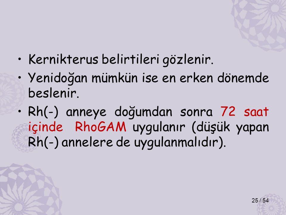 Kernikterus belirtileri gözlenir. Yenidoğan mümkün ise en erken dönemde beslenir.