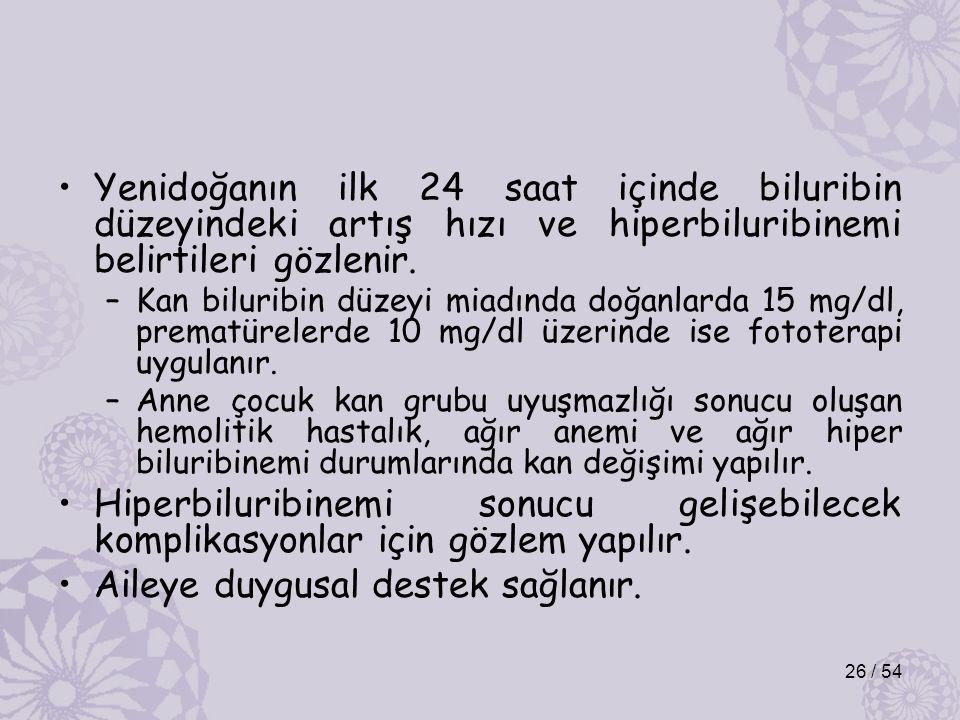 Yenidoğanın ilk 24 saat içinde biluribin düzeyindeki artış hızı ve hiperbiluribinemi belirtileri gözlenir. –Kan biluribin düzeyi miadında doğanlarda 1