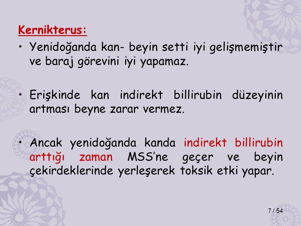 Kernikterus: Yenidoğanda kan- beyin setti iyi gelişmemiştir ve baraj görevini iyi yapamaz. Erişkinde kan indirekt billirubin düzeyinin artması beyne z