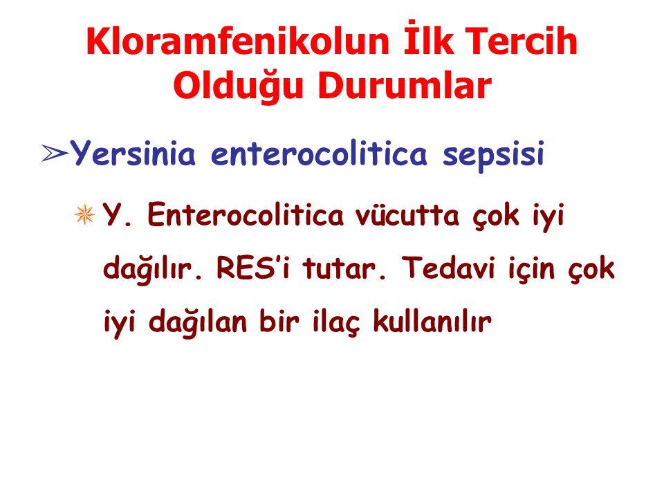 Kloramfenikolun İlk Tercih Olduğu Durumlar ➢ Yersinia enterocolitica sepsisi ✵ Y.