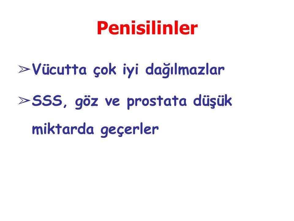Penisilinler ➢ Vücutta çok iyi dağılmazlar ➢ SSS, göz ve prostata düşük miktarda geçerler