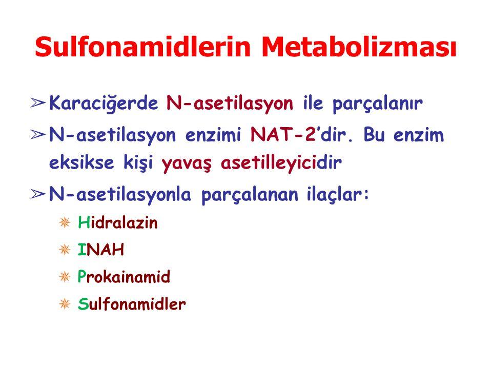 Sulfonamidlerin Metabolizması ➢ Karaciğerde N-asetilasyon ile parçalanır ➢ N-asetilasyon enzimi NAT-2'dir. Bu enzim eksikse kişi yavaş asetilleyicidir