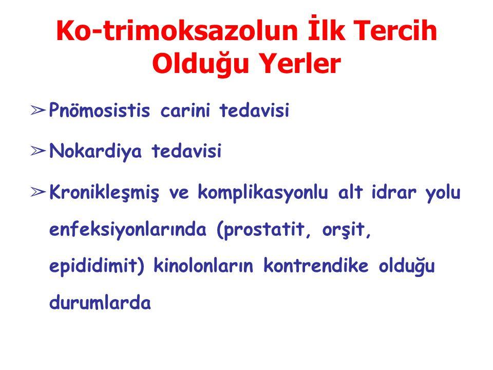 Ko-trimoksazolun İlk Tercih Olduğu Yerler ➢ Pnömosistis carini tedavisi ➢ Nokardiya tedavisi ➢ Kronikleşmiş ve komplikasyonlu alt idrar yolu enfeksiyonlarında (prostatit, orşit, epididimit) kinolonların kontrendike olduğu durumlarda