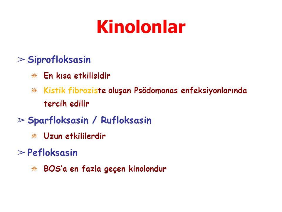 Kinolonlar ➢ Siprofloksasin ✵ En kısa etkilisidir ✵ Kistik fibroziste oluşan Psödomonas enfeksiyonlarında tercih edilir ➢ Sparfloksasin / Rufloksasin ✵ Uzun etkililerdir ➢ Pefloksasin ✵ BOS'a en fazla geçen kinolondur