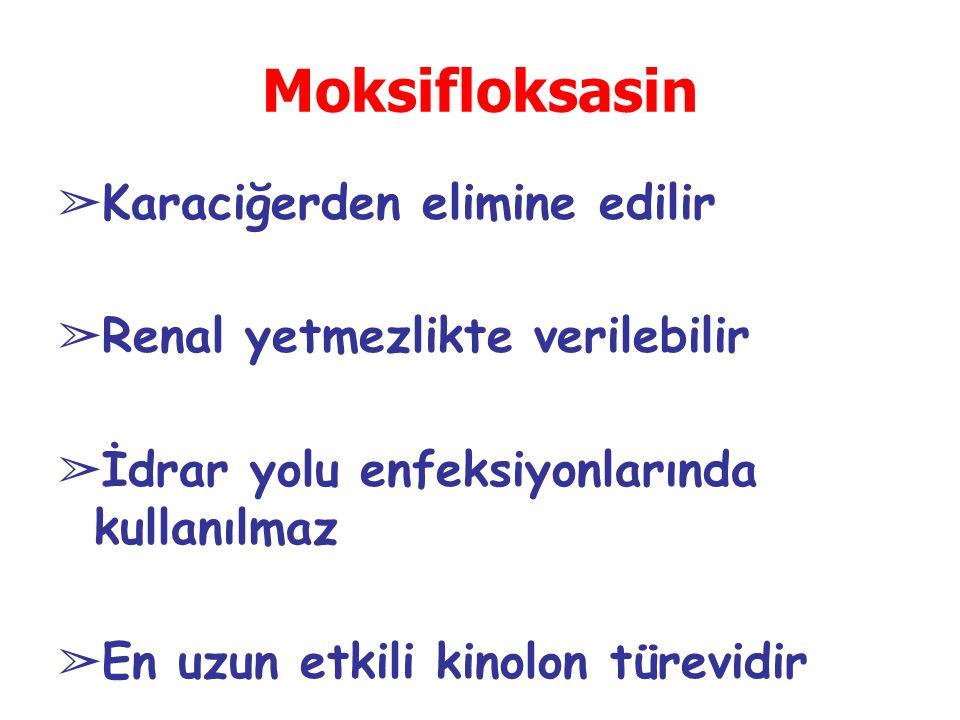 Moksifloksasin ➢ Karaciğerden elimine edilir ➢ Renal yetmezlikte verilebilir ➢ İdrar yolu enfeksiyonlarında kullanılmaz ➢ En uzun etkili kinolon türevidir