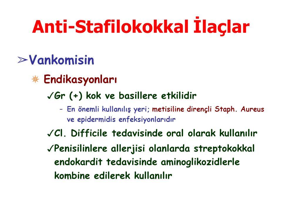 Anti-Stafilokokkal İlaçlar ➢ Vankomisin ✵ Endikasyonları ✓ Gr (+) kok ve basillere etkilidir –En önemli kullanılış yeri; metisiline dirençli Staph. Au